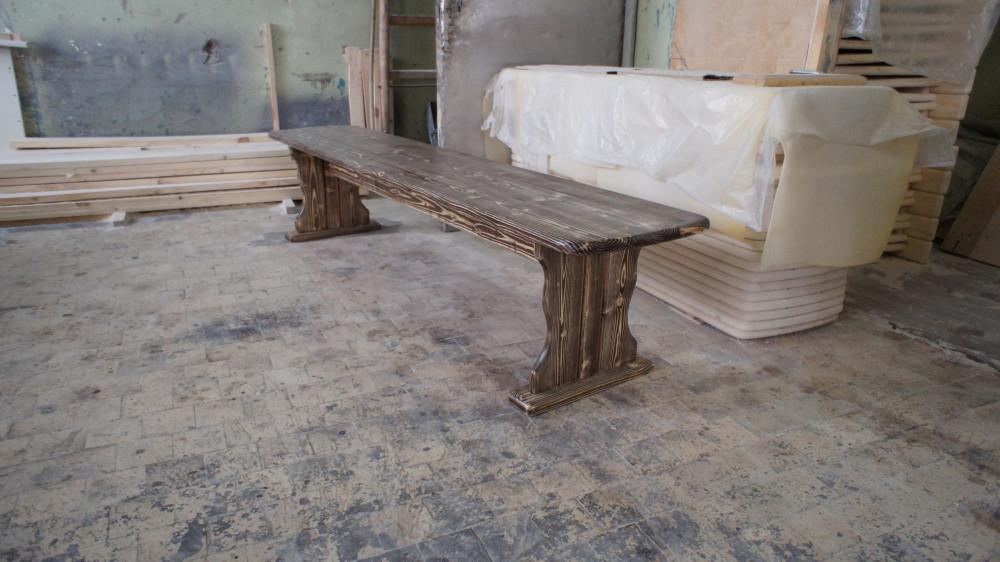 Скамья деревянная без спинки (под старину)