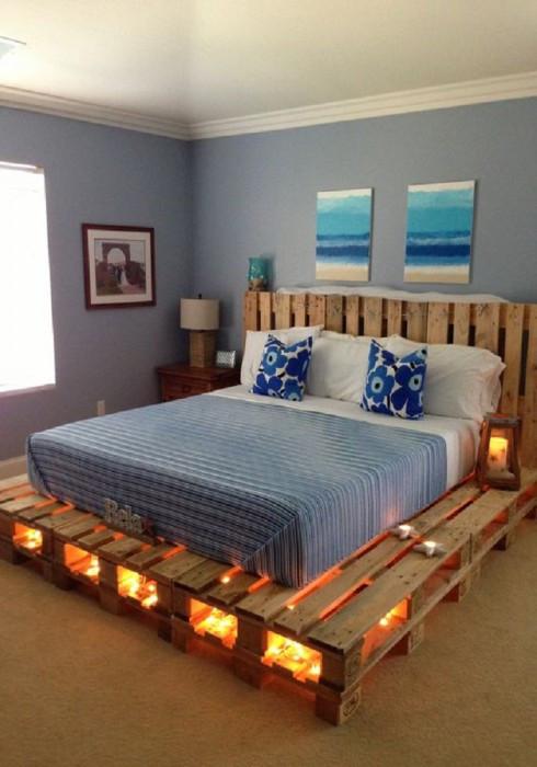 Кровать с подсветкой из поддонов Бел-Шир